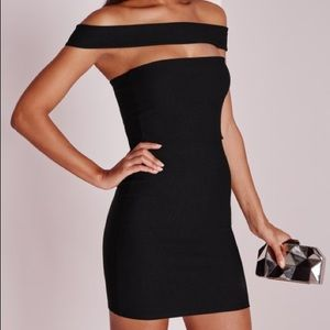 Missguided black off the shoulder dress